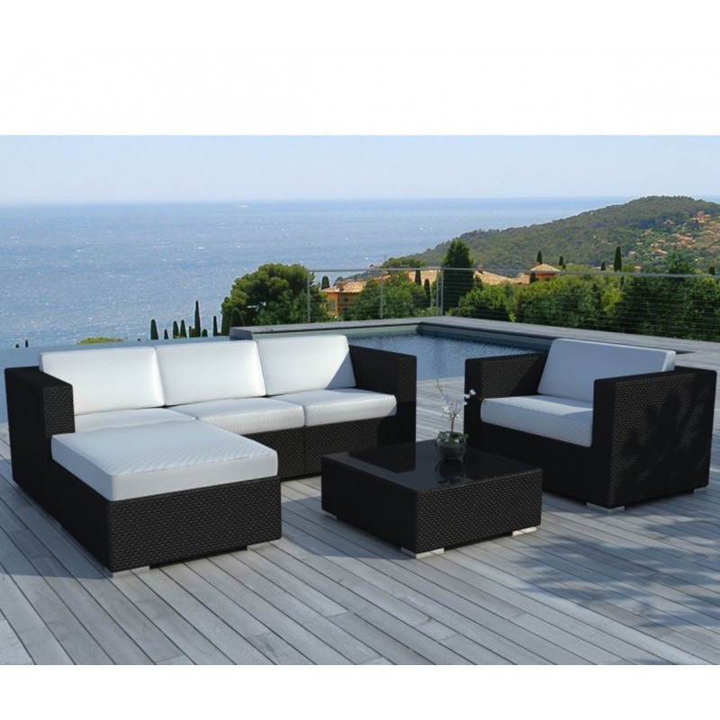 Salon de jardin en r sine tress e 5 places modulable - Salon de jardin blanc ...