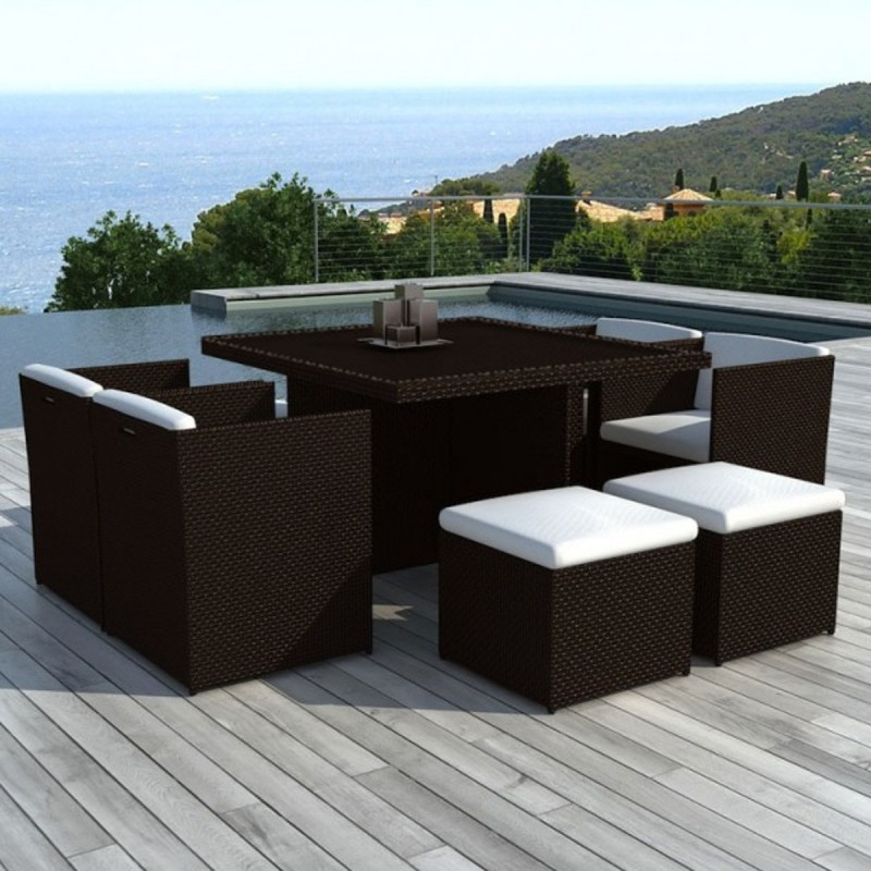salon de jardin en r sine tress e encastrable 8 places bali chocolat. Black Bedroom Furniture Sets. Home Design Ideas