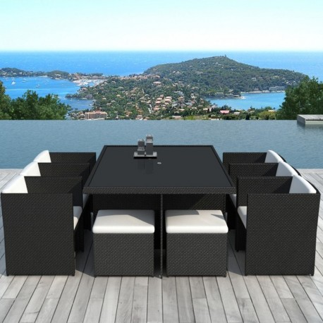 salon de jardin en r sine tress e encastrable 10 places. Black Bedroom Furniture Sets. Home Design Ideas