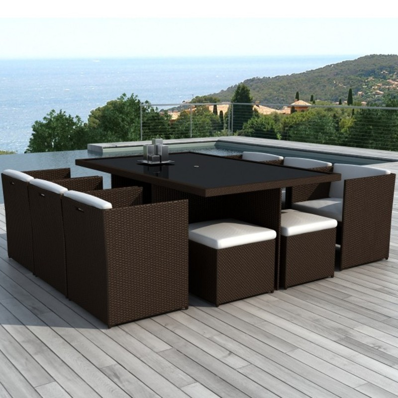 salon de jardin en r sine tress e encastrable 10 places java chocolat. Black Bedroom Furniture Sets. Home Design Ideas