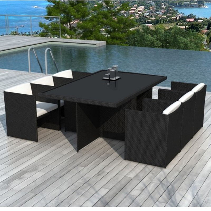 salon de jardin en r sine tress e encastrable 6 places. Black Bedroom Furniture Sets. Home Design Ideas
