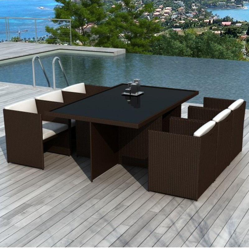 salon de jardin en r sine tress e encastrable 6 places lombok choco. Black Bedroom Furniture Sets. Home Design Ideas