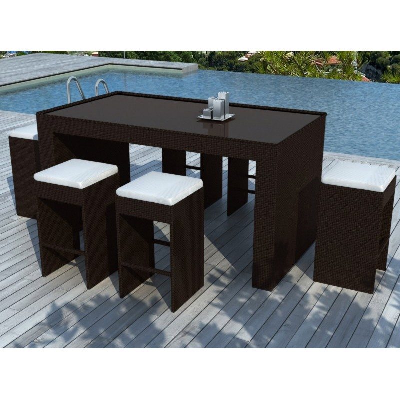 salon de jardin en r sine tress e bar 6 places barista chocolat. Black Bedroom Furniture Sets. Home Design Ideas