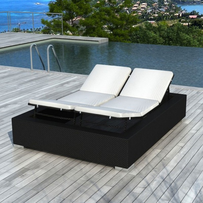 bain de soleil en r sine tress e 2 places nikos noir. Black Bedroom Furniture Sets. Home Design Ideas