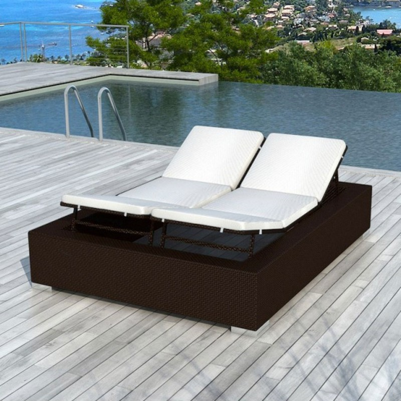 bain de soleil en r sine tress e 2 places nikos chocolat. Black Bedroom Furniture Sets. Home Design Ideas