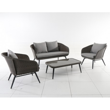 salon de jardin en aluminium et r sine tress e 4 places caldeira mwh. Black Bedroom Furniture Sets. Home Design Ideas
